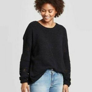 Knox Rose Textured Crewneck Sweater Black XXL